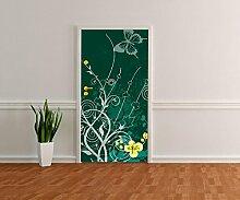 Türtapete Romina Floral Tapete Kunstdruck Türbild M0170 | 100 x 200cm (B x H) | Dekorfolie selbstklebend
