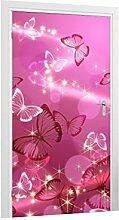 Türtapete Schmetterlingsschwarm B x H: 101cm x 200cm von Klebefieber®