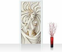 Türtapete selbstklebend 100x211 cm PREMIUM PLUS Tür Fototapete Türposter Türpanel Foto Tapete Bild - A PERFECT WOMAN - Frau Erotik Gold elegant 3D Wand - no. 045