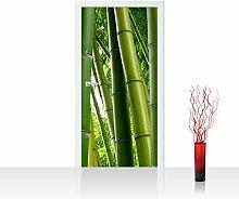Türtapete selbstklebend 100x211 cm PREMIUM PLUS Tür Fototapete Türposter Türpanel Foto Tapete Bild - PARADISE OF BAMBOO - Bambuswald Bambus Wald Asien Asia Baum Bamboo Way Bambusweg Grün - no. 075