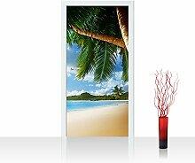 Türtapete selbstklebend 100x211 cm PREMIUM PLUS Tür Fototapete Türposter Türpanel Foto Tapete Bild - LONELY BEACH - Strand Meer Palmen Beach 3D Ozean Palme - no. 004