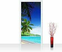 Türtapete selbstklebend 100x211 cm PREMIUM PLUS Tür Fototapete Türposter Türpanel Foto Tapete Bild - PARADISE BEACH - Strand Meer Palmen Beach 3D Ozean Palme - no. 005