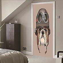 Türtapete selbstklebend 3d TürPoster Hund mit