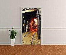 Türtapete Stolleneingang Tapete Kunstdruck Türbild M0352 | 100 x 200cm (B x H) | Vlies