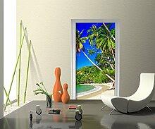 Türtapete Südseestrand Tapete Kunstdruck Türbild M0451 | 80 x 200cm (B x H) | Dekorfolie Kratzschutz Glanz