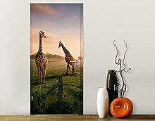 TürTapete Surreal Giraffes Motivtapete Türdesign Afrika Steppe Safari Zoo, Größe:208cm x 118cm