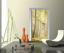 Türtapete Waldweg Tapete Kunstdruck Türbild | 100 x 200cm (B x H) | Dekorfolie selbstklebend
