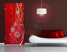 TürTapete Weihnachtliche Dekoration Tapete Schmuck Sterne Festlich Romantisch, Größe:221cm x 93cm