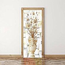 Türtapeten Selbstklebend 3D Goldene Vase