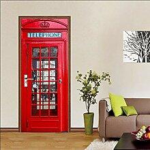 Türtapeten Selbstklebend 3D Rote Telefonstation