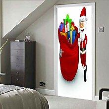Türtapeten Selbstklebend 3D Weihnachtsmann Gibt