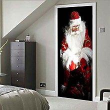 Türtapeten Selbstklebend 3D Weihnachtsmann