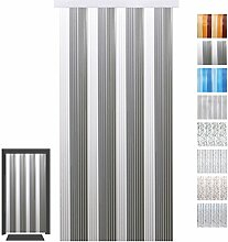 Türvorhang Fadenvorhang PVC, Auswahl: weiß - hellgrau - grau 100 x 200 cm
