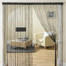 Türvorhang, Fadenvorhang, schein-Gewinde, 90cm x 200cm, schwarz
