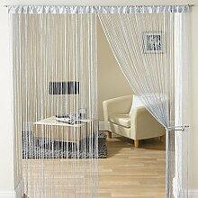 Türvorhang, Fadenvorhang, schein-Gewinde, 90cm x 200cm, silber