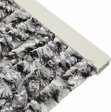 Türvorhang Flauschvorhang 90x200cm Insektenschutz Campingvorhang Wohnwagen, Farbe:weiß-schwarz
