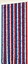 Türvorhang Flauschvorhang Insektenschutz Chenille 115x230 cm blau-weiss-rot NEU!