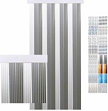 Türvorhang PVC weiß - hellgrau - grau 90 x 200 cm