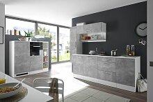 Tullamore Küchenzeile Küchenblock Weiß Beton