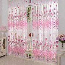 Tulpe Offsetdruck unelastisch Licht Durchlässigkeit Fenster Gardinen Organza Tüll Vorhänge Fenster screening, 100 * 200cm, 1 Tafel , pink , 100*200cm