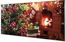 Tulup Glas Bild 100x50cm Wandbild Weihnachten