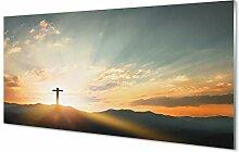 Tulup Glas Bild 120x60cm Wandbild Jesus Christus