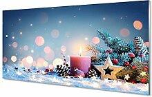 Tulup Glas Bild 120x60cm Wandbild Weihnachten