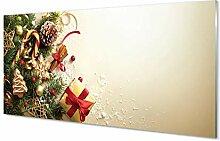 Tulup Glas Bild 140x70cm Wandbild Weihnachten