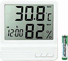 Tumao LCD Digital Temperatur Feuchtigkeitsmesser, LCD Digital Thermometer für Haus, Büro LCD Wandmontage und Schreibtisch Uhr (Weiß)