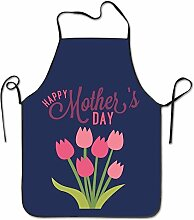 Tunliufly Pink Carnation Durable Machine Washable Adjustable Comfortable Kitchen Overlock Bib Apron