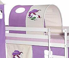 Tunnel für Hochbett EINHORN Rutschbett Spielbett Kinderbett in lila/beige