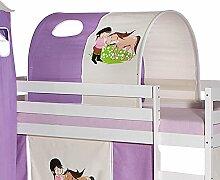 Tunnel für Hochbett PONY Rutschbett Spielbett Kinderbett in lila/beige Pferdemotiv