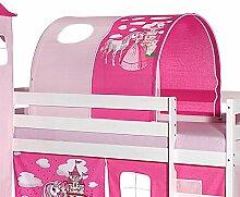 Tunnel für Hochbett PRINZESSIN Rutschbett Spielbett Kinderbett in pink/rosa