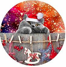 TUOKING Weihnachten Tiere Runde Bad Pad