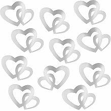 TUPARKA Doppel Herzen Silber Herzen Deko Konfetti