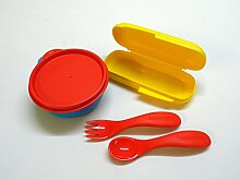 TUPPERWARE Kinder Besteck+ Box gelb rot mit Etui