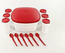 TUPPERWARE Küchenhelfer Joghurt-Set rot weiß Becher Dose Löffel Joghur