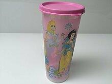TUPPERWARE Trinkbecher Becher mit Deckel auslaufsicher 470ml rosa Mädchen Prinzessin ideal für Smoothie