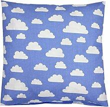 TupTam Kissenbezug Dekorative Kissenhülle Reißverschluss Dekokissen Baumwolle Eulen Elefant Sterne Feuerwehr Polizei, Farbe: Blau Weiße Wolken , Größe: 50 x 50 cm