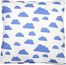 TupTam Kissenbezug Dekorative Kissenhülle Reißverschluss Dekokissen Baumwolle Eulen Elefant Sterne Feuerwehr Polizei, Farbe: Weiß Blaue Wolken, Größe: 40 x 80 cm