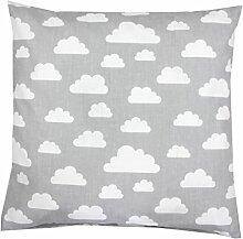 TupTam Kissenbezug Dekorative Kissenhülle Reißverschluss Dekokissen Baumwolle Eulen Elefant Sterne Feuerwehr Polizei, Farbe: Grau Weiße Wolken, Größe: 50 x 50 cm