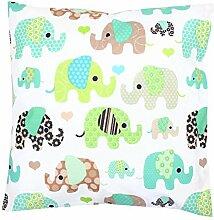 TupTam Kissenbezug Dekorative Kissenhülle Reißverschluss Dekokissen Baumwolle Eulen Elefant Sterne Feuerwehr Polizei, Farbe: Elefant Mint, Größe: 40 x 60 cm