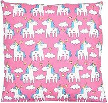 TupTam Kissenbezug Dekorative Kissenhülle Reißverschluss Dekokissen Baumwolle Eulen Elefant Sterne Feuerwehr Polizei, Farbe: Einhorn Rosa, Größe: 80x80 cm