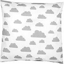TupTam Kissenbezug Dekorative Kissenhülle Reißverschluss Dekokissen Baumwolle Eulen Elefant Sterne Feuerwehr Polizei, Farbe: Weiß Graue Wolken, Größe: 40 x 80 cm