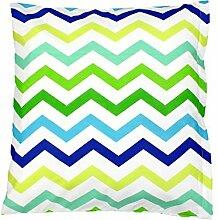TupTam Kissenbezug Kissenhülle 100% Baumwolle Dekokissen, Farbe: Zickzack Grün/Blau, Größe: 80x80 cm