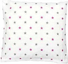 TupTam Kissenbezug Kissenhülle 100% Baumwolle Dekokissen, Farbe: Sterne Rosa/Grau, Größe: 40 x 40 cm