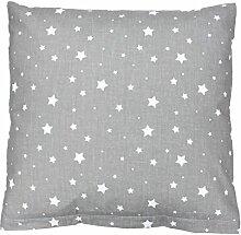 TupTam Kissenbezug Kissenhülle 100% Baumwolle Dekokissen, Farbe: Sterne Grau, Größe: 40 x 40 cm