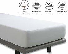 Tural - Antibakterieller Matratzen-Auflage. Wasserdicht und atmungsaktiv. Frottee aus 100% Baumwolle. Größe 100x190/200cm - Matratzenschoner