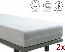 Tural - Elastischer Matratzenüberzug mit Reißverschluss. Frottee aus 100% Baumwolle. Größe Pack x2 90x190/200 cm