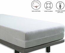 Tural - Elastischer Matratzenüberzug mit Reißverschluss. Frottee aus 100% Baumwolle. Größe 100x190/200 cm